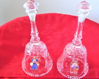 Boy and Girl Clown Bells Hand Painted Crystal