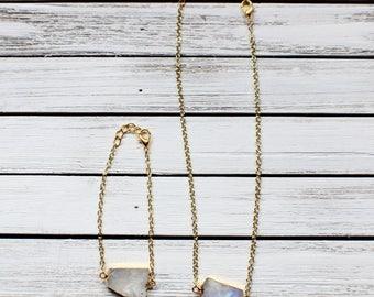 Moonstone Set- Choker/Bracelet Jewelry Set