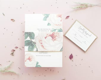 Peony Wedding Invitation / Wedding Invitation / Wedding Invite / Vintage Invitation / Wedding Invites / Floral Wedding