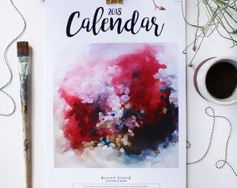 2018 Abstract Art Calendar, 11x17 Wall Calendar, Gold Hanging Clasp. Abstract Art Prints, Desk Calendar, Office Organization, Gratitude Gift