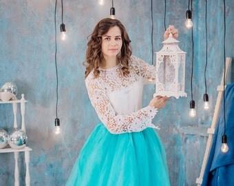 Clothing gift  Long Tulle Skirt  Wedding Long Tulle Skirt Blue Bridesmaids Casual Floor Women's Tulle Skirt Bridesmaids Tulle Skirt Bride