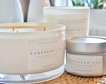 100% Pure Soy wax Scented Candle - Pure Vanilla from The Pure Scent - Handmade and Hand Poured In London