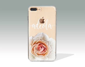Personalized iPhone 7 Plus Case Rose iPhone 7 Case with Custom Name, Personalized Gift, Customized, Personalised, Custom Name Case// PC15
