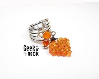 Ring Geek - Pixel heart glitter holographic vibrant gamer video game nerd