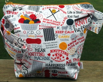 Knit Sayings Zippered Pouch Knitting Project Bag/ Tape Measure/ Pockets