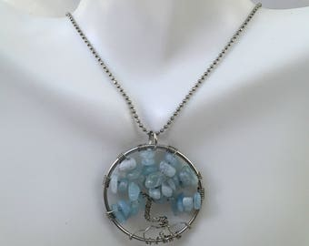 "Handmade Tree of Life Pendant with Amazonite Natural Stone on 35"" Chain Necklace. Great Gift for her or for him!"