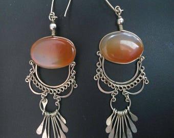 Lovely Exotic Vintage Carnelian Silver Dangle Earrings