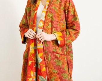 Kantha stitch dressing gown made from pure cotton vintage saris | Vintage cotton dressing gown | Kantha stitch robe | 100% cotton