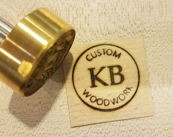 "1.5"" Round Custom Text w/Initials & Outline Branding Iron"