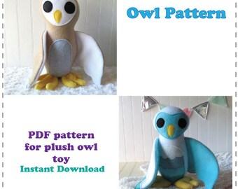 Owl Pattern, Plush Owl Sewing Pattern, PDFPattern, Instant Download Sewing Pattern
