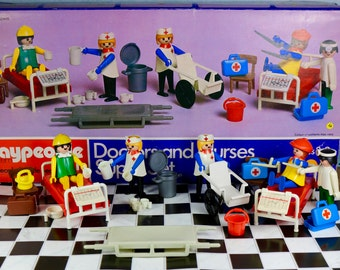 Vintage Playpeople Playmobil Marx toys Geobra 1974 Doctor and Nurses superset 1740 complete with box and brochure