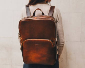 Leather Backpack Rucksack suitable for 15.7'' Laptop for men and women - Porter by Niche Lane