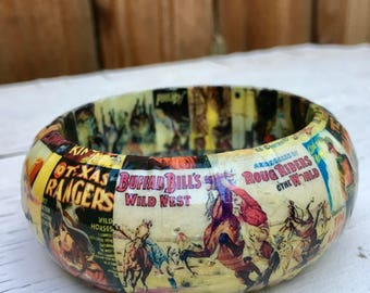 Vintage Wild West Bangle Bracelet / Decoupage / OOAK / Western Jewelry / Cowboys And Indians / Handmade / Statement Bracelet / Wood Jewelry