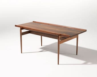 Danish Coffee Table In Walnut, Living Room Table, Mid Century Modern,  Walnut Table