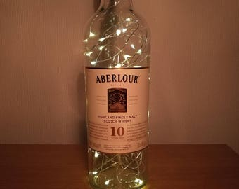 Upcycled Aberlour 10 Year Old Whisky LED Light Bottle