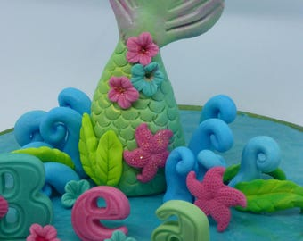 Large Mermaid Tail Under the sea Birthday  Handmade Cake Topper
