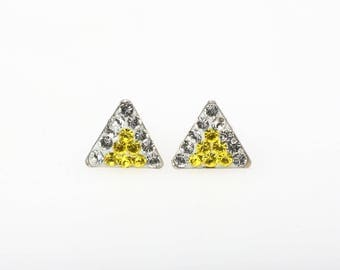 Sterling Silver Pave Radience Stud Earrings, Swarovsky Crystals, 7mm Side of Triangle, Citrine & Crystal Color, Unique Korean Style