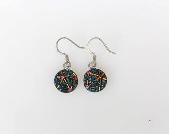 Round Dangle Earrings, Swarovsky Crystal, Beads Bars, Sterling Silver Ear Wire, Montana(Navy) Color, Korean Unique Style