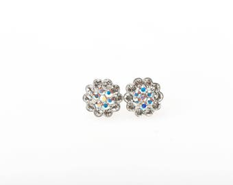 Sterling Silver Pave Radiance Stud Earrings, Swarovsky Crystals, 7mm Flower, Crystal AB Color, Unique BlingBling Korean Style