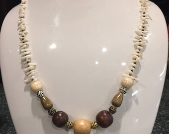 White Coral and Wood Beads Necklace