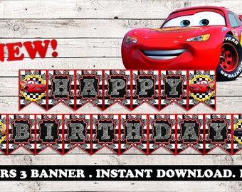 CARS 3 BANNER, CARS 3 birthday banner, cars party, cars party supplies, cars birthday, cars disney 3, cars disney decorations ,cars pdf