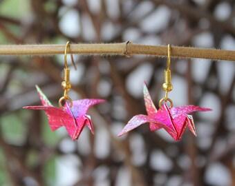 Origami crane earrings - self folded iridescent paper, reinforced, shimmering pink mettalic