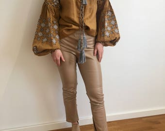 Mocco brown vyshyvanka blouse of 100% linen with Ukrainain geometric embroidery and tassels-boho chic ethnic folkloric-modern folk top shirt