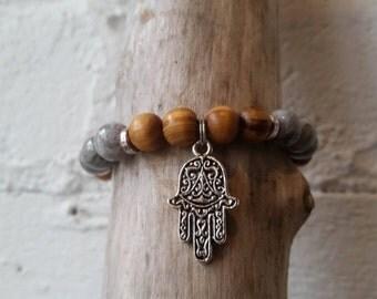 Bracelet Boho Jasper /Bois