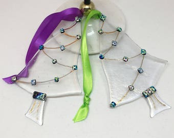 Christmas Tree Ornament – Blue, Green, Pink and Gold Dichroic Glass Tree