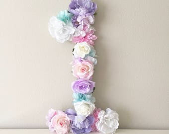 First Birthday Number, Flower Number, Birthday Decor, Birthday Prop, Cake Table Decor, Photoshoot Prop, Cake Smash Session, Smash Prop
