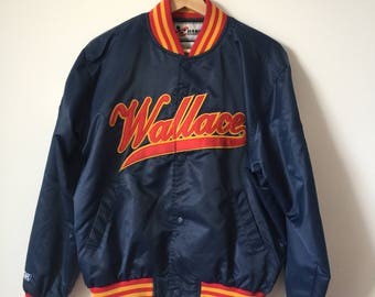 Navy blue satin Rusty Wallace bomber jacket NASCAR