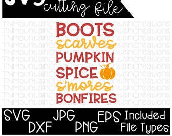 Fall SVG File, Fall List svg, Boots, Scarves, Pumpkin Spice, S'mores, Bonfires,  Fall svg, Cutting File, Silhouette, Cricut, PNG, DXF