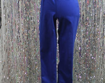 90's Striking Blue Over The Waist Elastic Pants (8)