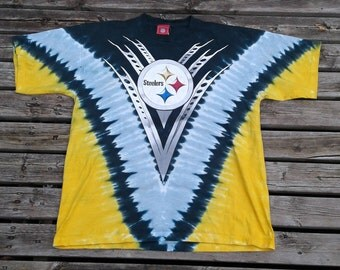 Awesome 90's Vintage Pittsburg Steelers all over print tie-dyed Made in USA t-shirt XL
