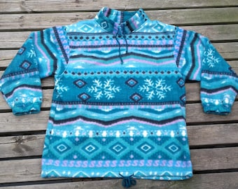 Vintage 80's / 90's Fleece Pullover Sweater Aztec Abstract Purple Teal Pink Snowflakes Made by Weekend Edition large