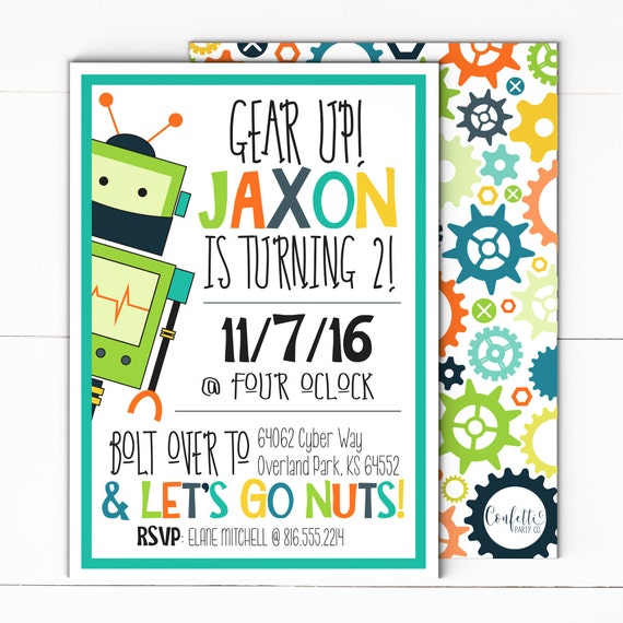 Robot party invitation robot invite robot party robot birthday il570xn filmwisefo Images