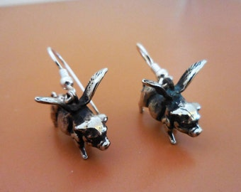 Flying Pig Earrings, White Bronze, Whimsical Jewelry, Gifts for Her, Fun Jewelry