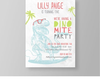 Girl Dinosaur Birthday Invitation Template | Cool Surfer Dino Party Invite | Printable | Instant Download | 100% Editable | Templett #043GBD