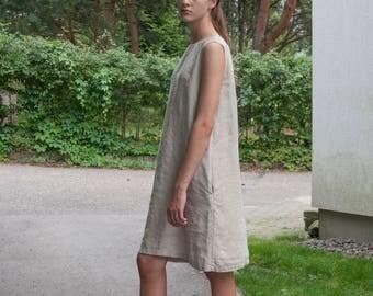NEW! Sleeveless beige linen dress with pockets, loose linen dress, midi linen dress, loose linen tunic, dress with belt, plus size dresses