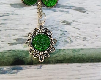 Sherwood Forest Jewelry, Green Gem Jewelry, Book Jewelry, Fantasy, Legend of Robin Hood, Druzy Gem, Druzy Earrings, Druzy Pendant
