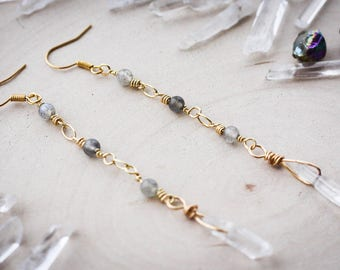 Clear Quartz Point Drop Fairy Earrings with Labradorite Beads, Gold Plated // Hippie, Crystal, Gypsy, Gypset, Bohemian Jewelry, Jewellery