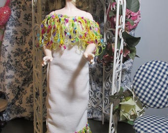 Handmade Doll Clothes, Fringed off the Shoulder Dress and Thong Panties, Fits 1/4 bjd, Iplehouse, MSD, Approximately 45 cm or 16 inches tall