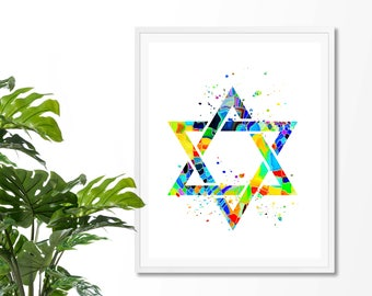 Star Of David #7 Watercolor Art Print,  Jewish, Shield of David, Hebrew, Religious, Magen David, Poster,Wall Art, Giclee,  Home Decor