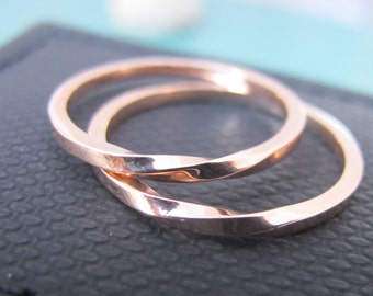 Wedding Ring Set Rose Gold, Matching Wedding Rings, Mobius Wedding Band, Matching Ring Set, Dainty Fine Jewelry, Unique Rose Gold Rings