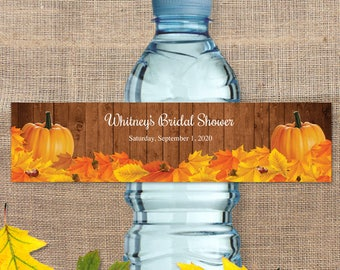 "Printable Rustic Autumn Pumpkin Water Bottle Labels for Bridal Wedding Shower; Personalized 8"" x 2"" Labels - Editable PDF, Instant Download"