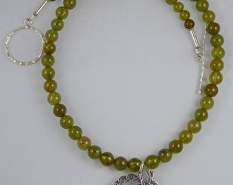 Round Green Garnet Beads with Sterling Silver Celtic Deer Pendant