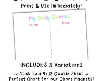 Chore Chart - Printable Chore Chart - Kids Daily Chores - Child Reward Chart - Digital Download