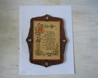 Vintage Carved Wood Wall Plaque A Prayer For You is Said Today  2856