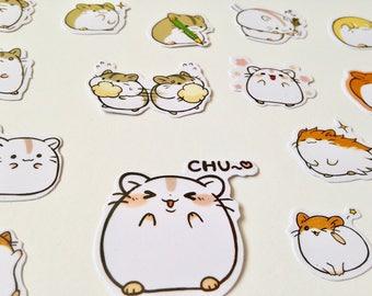 Alideco podgy hamster stickers cute kawaii cartoon animals hamsters