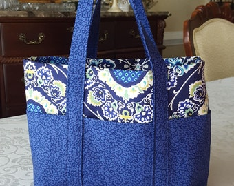 Blue, Yellow and Green Tote Bag with Six Pockets